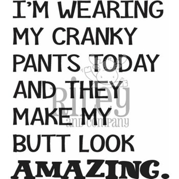 Riley And Company Funny Bones CRANKY PANTS Cling Rubber Stamp RWD-930
