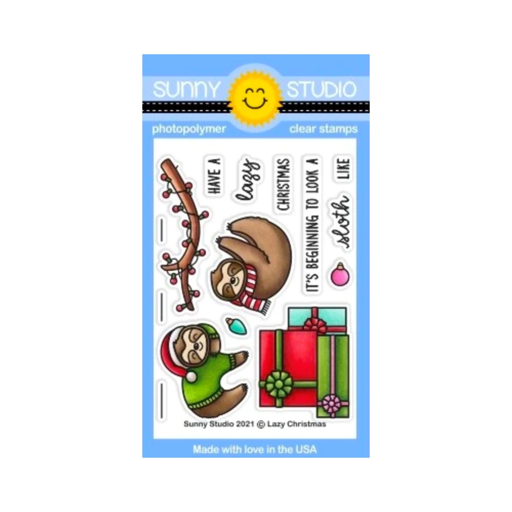 Sunny Studio LAZY CHRISTMAS Clear Stamps sscl-311 zoom image