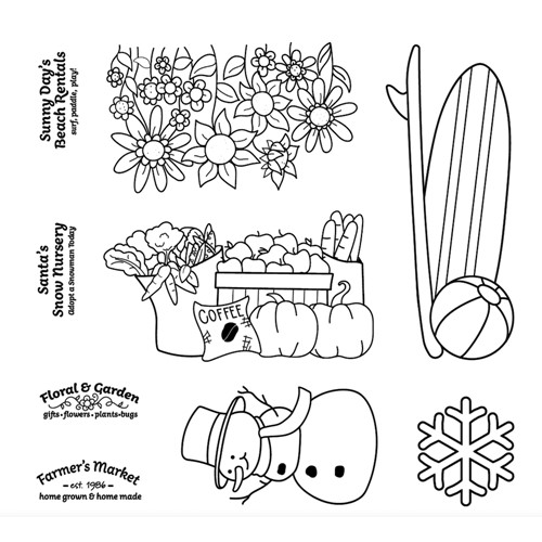 Maker's Movement HOME FOR THE HOLIDAYS SEASONS Clear Stamp Set m12548 Preview Image