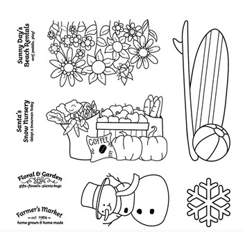 Maker's Movement HOME FOR THE HOLIDAYS SEASONS Clear Stamp Set m12548