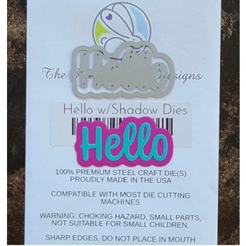 The Rabbit Hole Designs HELLO Scripty Word with Shadow Layer Dies TRH-117D
