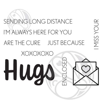 The Rabbit Hole Designs HUGS SCRIPTY Clear Stamps TRH-122