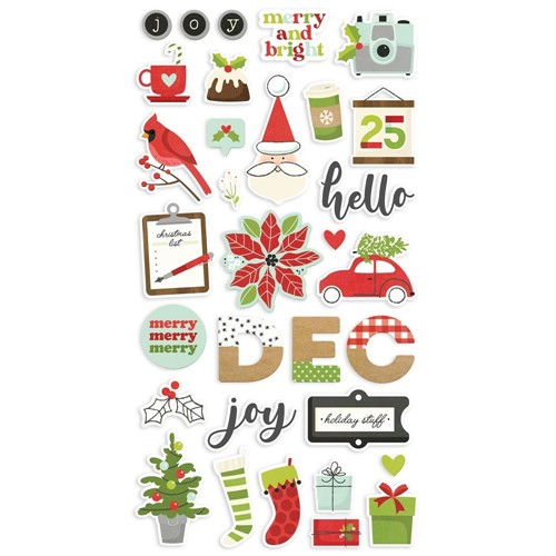 Simple Stories MAKE IT MERRY 6 x 12 Chipboard Stickers 15715 Preview Image