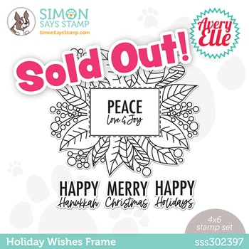 Avery Elle HOLIDAY WISHES FRAME Stamptember Exclusive Stamp Set sss302397