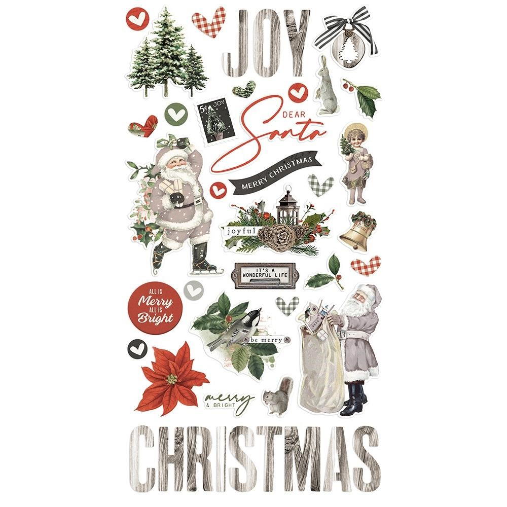 Simple Stories VINTAGE RUSTIC CHRISTMAS 6 x 12 Chipboard Stickers 16020 zoom image