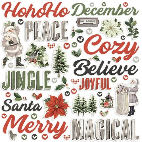 Simple Stories VINTAGE RUSTIC CHRISTMAS Foam Stickers 16025 Preview Image