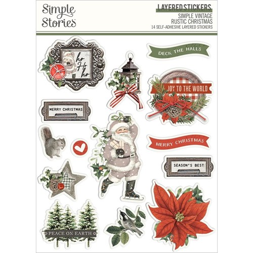 Simple Stories VINTAGE RUSTIC CHRISTMAS Layered Stickers 16026 Preview Image