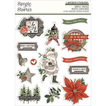 Simple Stories VINTAGE RUSTIC CHRISTMAS Layered Stickers 16026