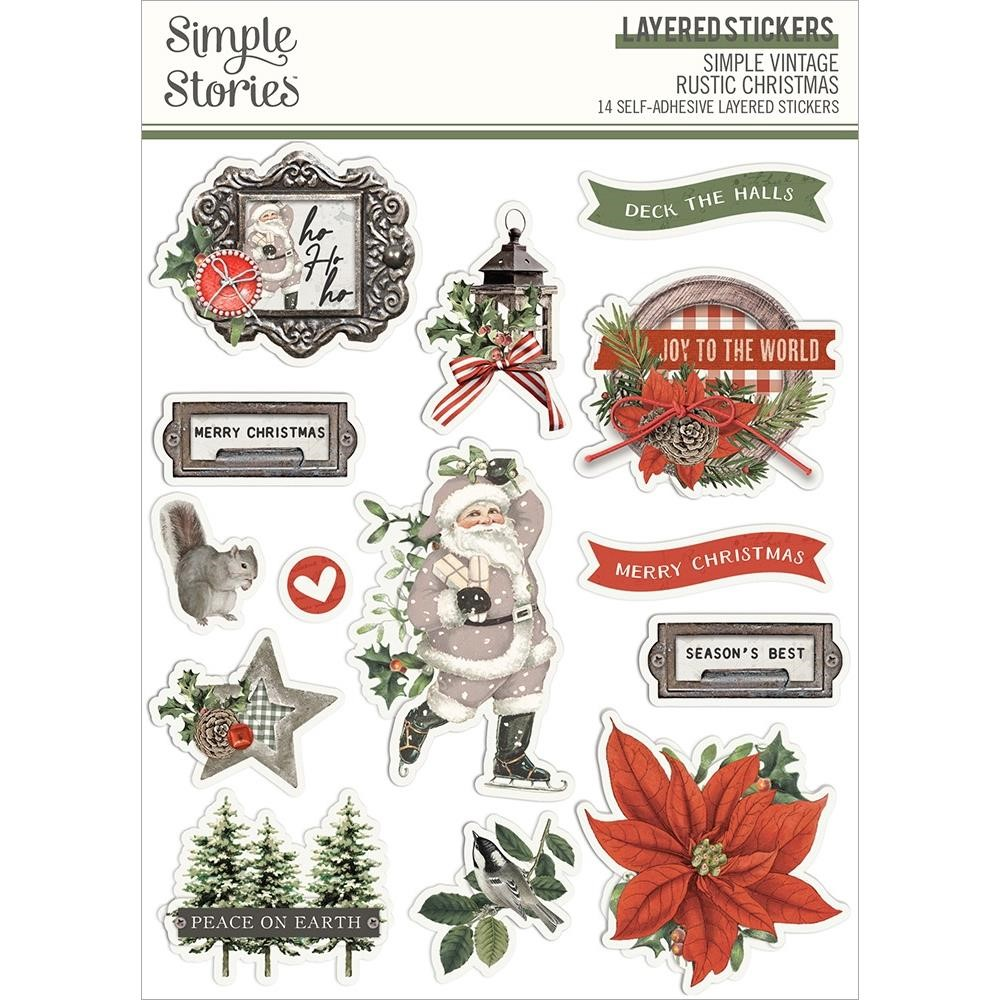 Simple Stories VINTAGE RUSTIC CHRISTMAS Layered Stickers 16026 zoom image