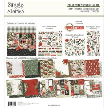 Simple Stories VINTAGE RUSTIC CHRISTMAS 12 x 12 Collector's Essential Kit 16036