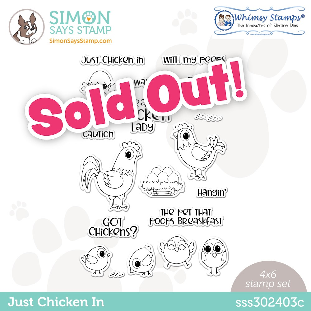Whimsy Stamps JUST CHICKEN IN Stamptember Exclusive Stamp Set sss302403c zoom image