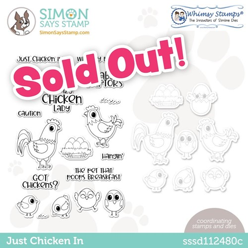 Whimsy Stamps JUST CHICKEN IN Stamptember Exclusive Stamp and Die Set sssd112480c Preview Image