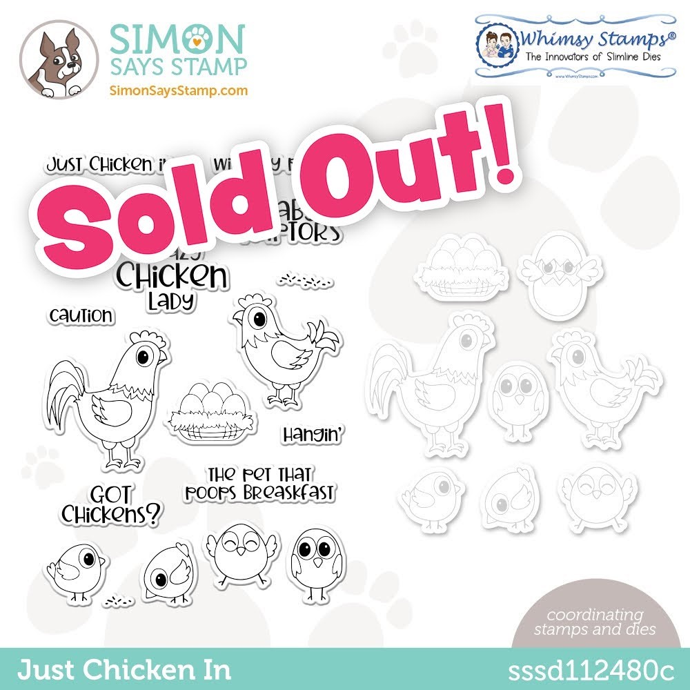 Whimsy Stamps JUST CHICKEN IN Stamptember Exclusive Stamp and Die Set sssd112480c zoom image