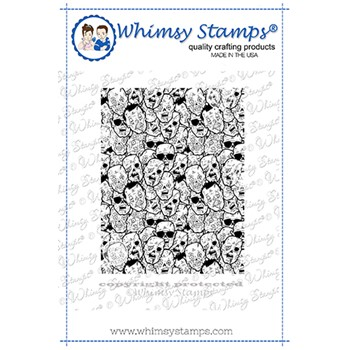 Whimsy Stamps ZOMBIE FACES Cling Stamp DDB0064