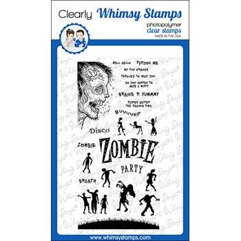 Whimsy Stamps ZOMBIE PARTY Clear Stamps CWSD388