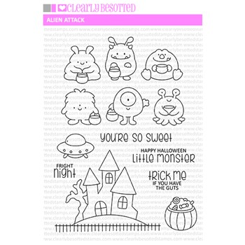 Clearly Besotted ALIEN ATTACK Clear Stamps