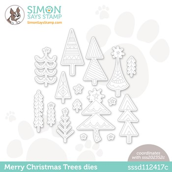 Simon Says Stamp MERRY CHRISTMAS TREES Wafer Dies sssd112417c Stamptember