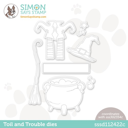 Simon Says Stamp TOIL AND TROUBLE Wafer Dies sssd112422c Stamptember Preview Image