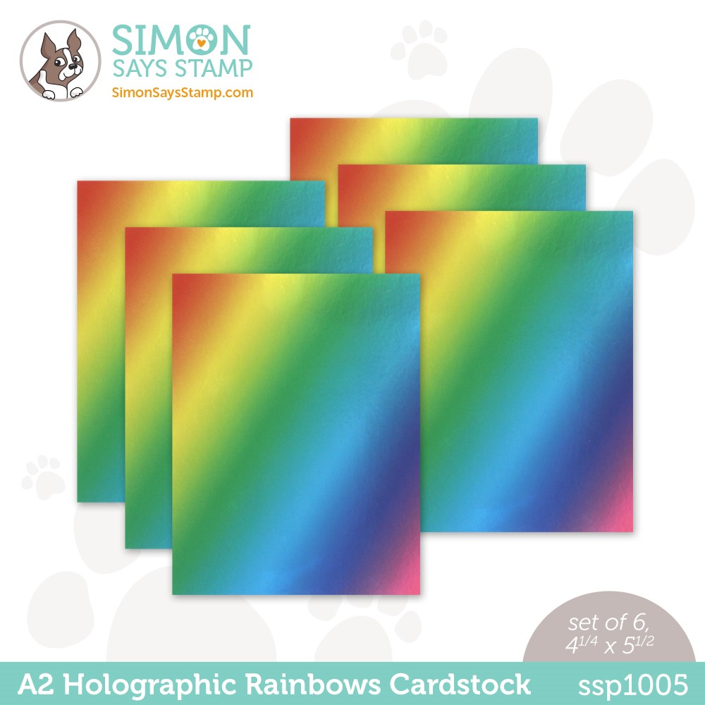 Simon Says Stamp Cardstock A2 HOLOGRAPHIC RAINBOWS ssp1005 Stamptember zoom image