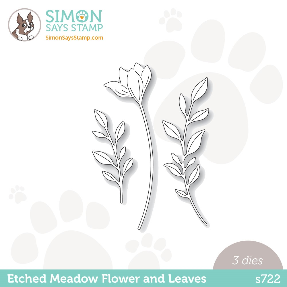 Simon Says Stamp ETCHED MEADOW FLOWER AND LEAVES Wafer Dies s722 Stamptember zoom image