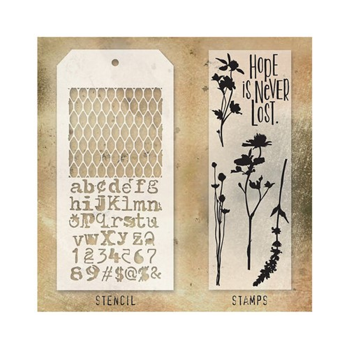 Tim Holtz Clear Stamps and Stencil MESH AND TYPO THMM121 Preview Image