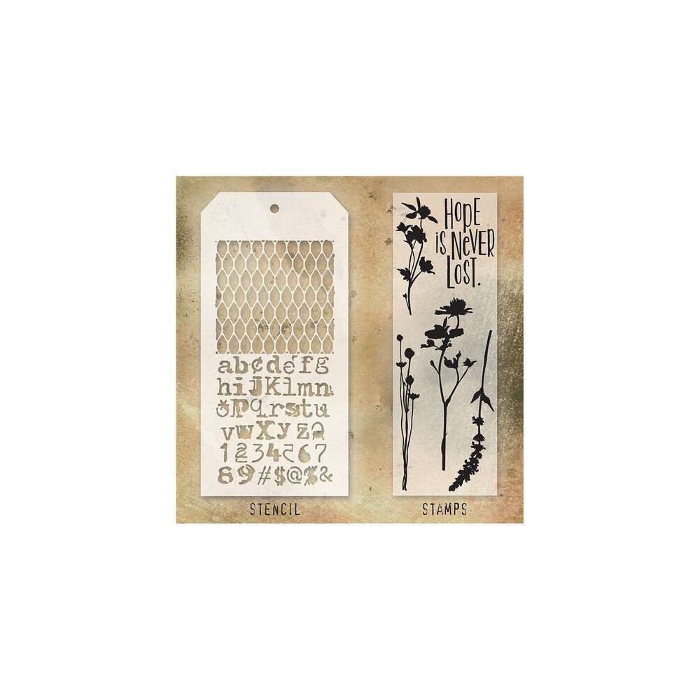Tim Holtz Clear Stamps and Stencil MESH AND TYPO THMM121 zoom image