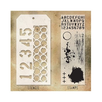 Tim Holtz Clear Stamps and Stencil NUMBERED AND RINGER THMM122*