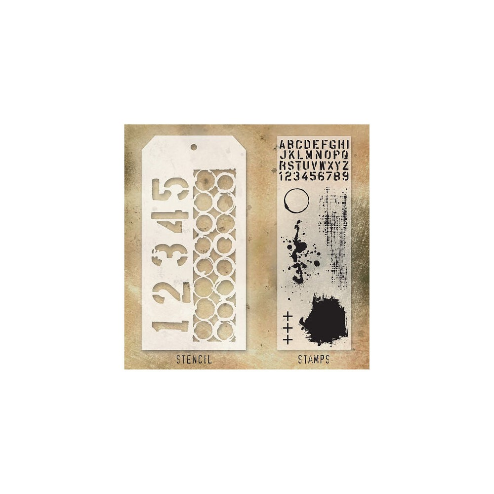 Tim Holtz Clear Stamps and Stencil NUMBERED AND RINGER THMM122 zoom image