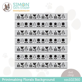 Simon Says Cling Stamp PRINTMAKING FLORAL BACKGROUND sss102360 Stamptember