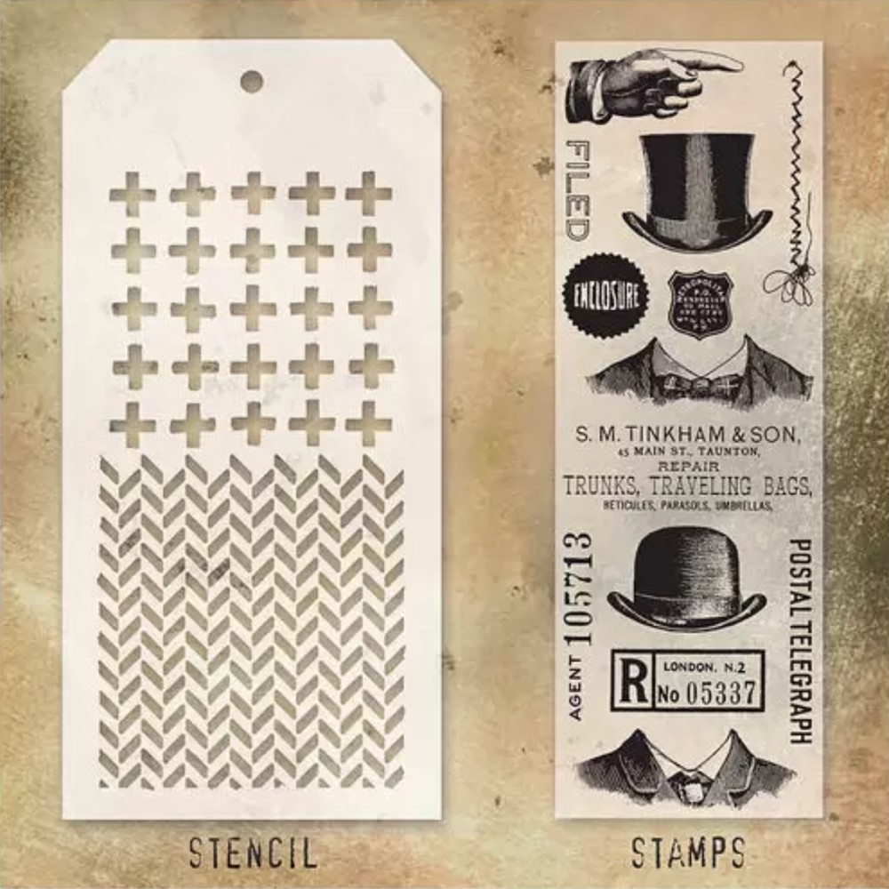 Tim Holtz Clear Stamps and Stencil PLUS AND HERRINGBONE THMM121 zoom image