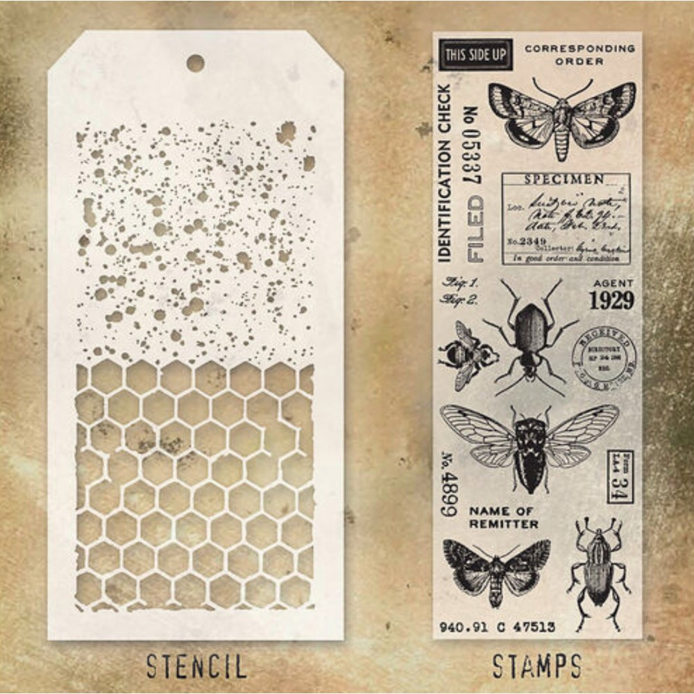 Tim Holtz Clear Stamps and Stencil SPECKLES AND HONEYCOMB THMM111 zoom image