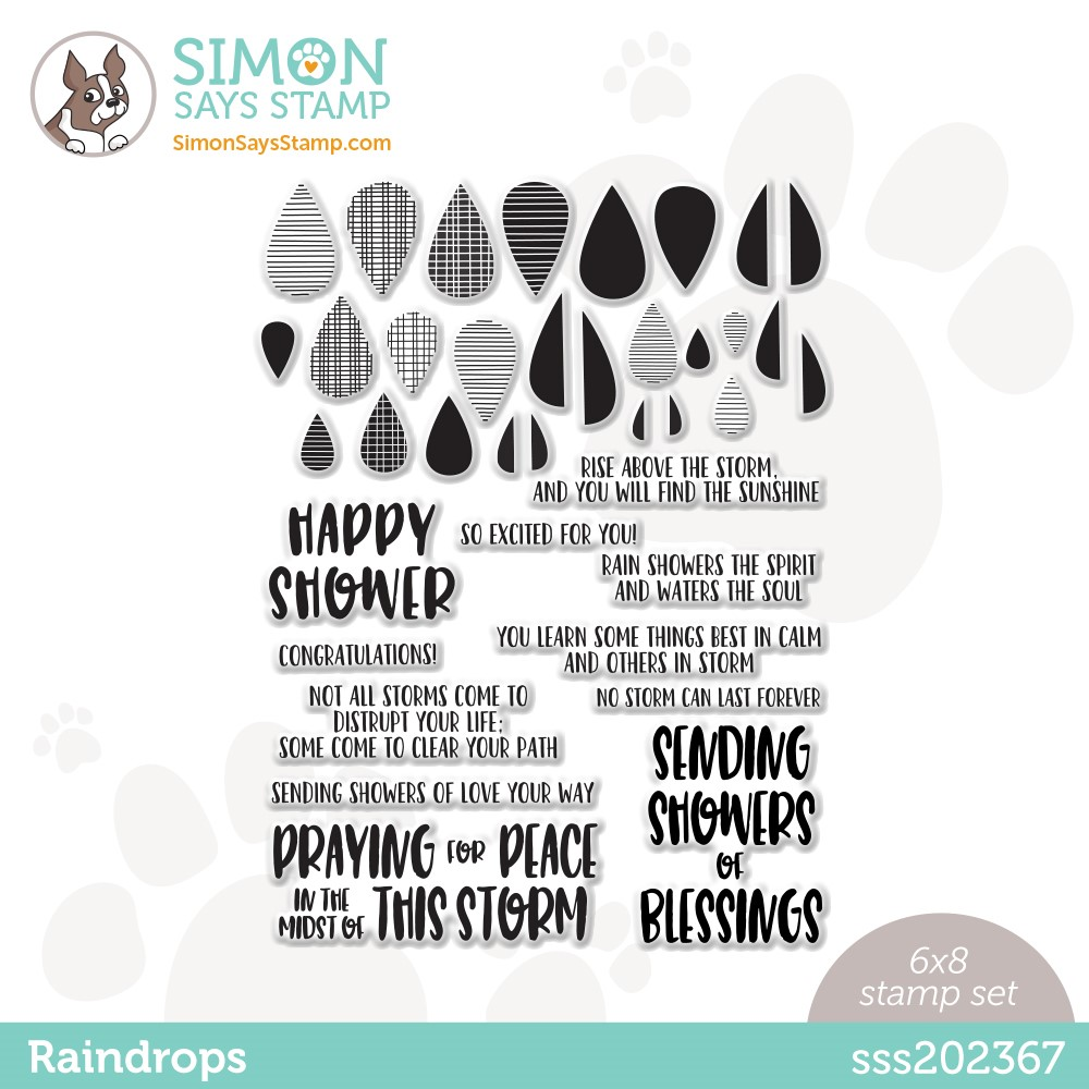 Simon Says Clear Stamps RAINDROPS sss202367 Stamptember zoom image
