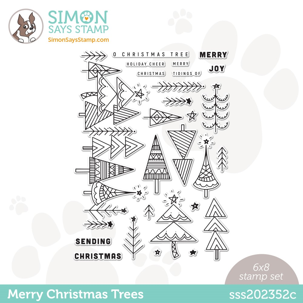 Simon Says Clear Stamps MERRY CHRISTMAS TREES sss202352c Stamptember zoom image
