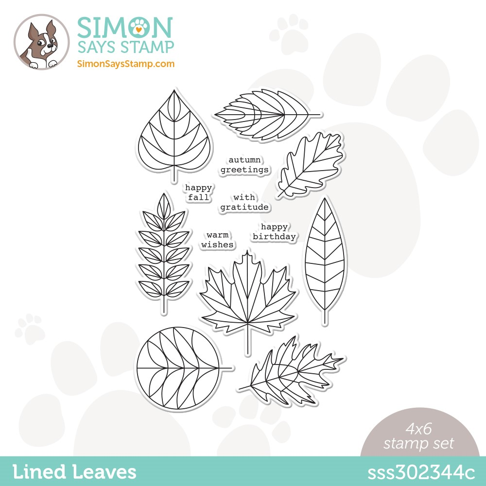 Simon Says Clear Stamps LINED LEAVES sss302344c Stamptember zoom image
