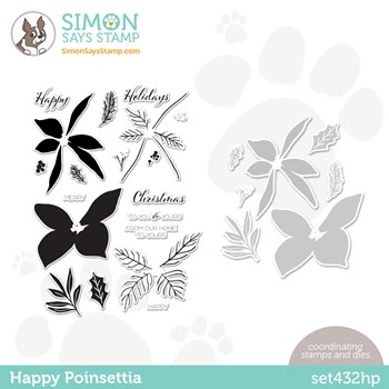 Simon Says Stamps and Dies HAPPY POINSETTIA set432hp Stamptember