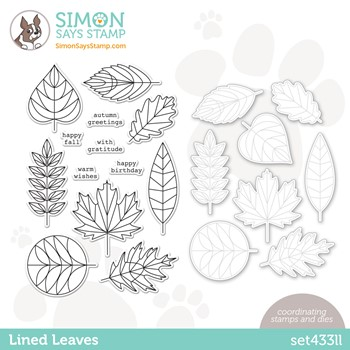 RESERVE Simon Says Stamps and Dies LINED LEAVES set433ll Stamptember