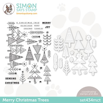 Simon Says Stamps and Dies MERRY CHRISTMAS TREES set434mct Stamptember
