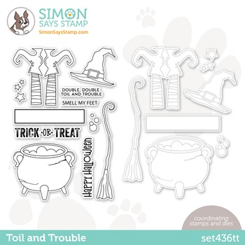 RESERVE Simon Says Stamps and Dies TOIL AND TROUBLE set436tt Stamptember