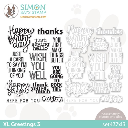 Simon Says Stamps and Dies XL GREETINGS 3 set437xl3 Stamptember Preview Image
