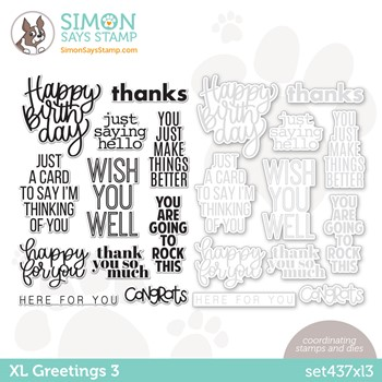 Simon Says Stamps and Dies XL GREETINGS 3 set437xl3 Stamptember