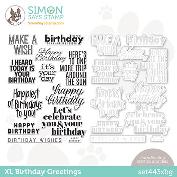 RESERVE Simon Says Stamps and Dies XL BIRTHDAY GREETINGS set443xbg Stamptember