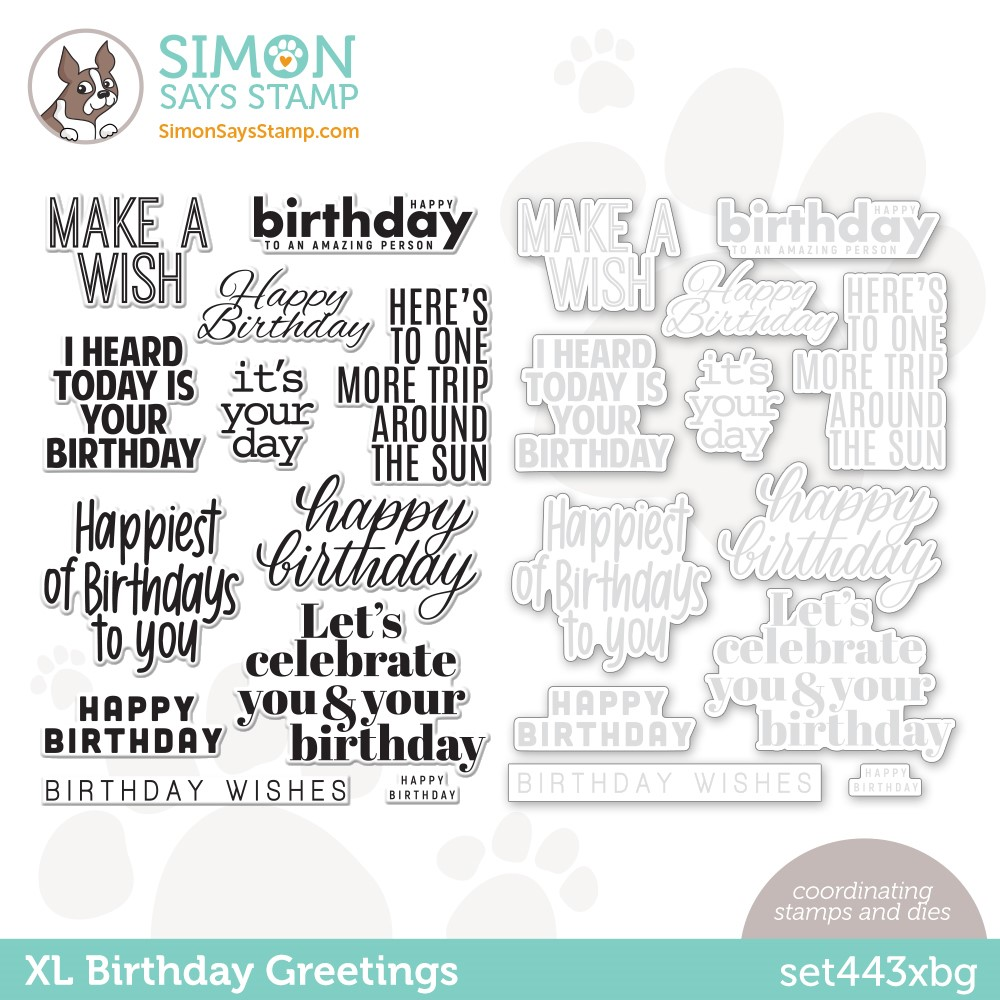 Simon Says Stamps and Dies XL BIRTHDAY GREETINGS set443xbg Stamptember zoom image