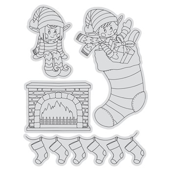 Couture Creations ELVES AND STOCKINGS Stamp And Color Outline Set co728507