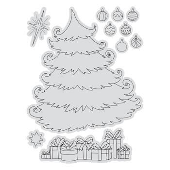Couture Creations CHRISTMAS TREE SCENE Stamp And Color Outline Set co728508