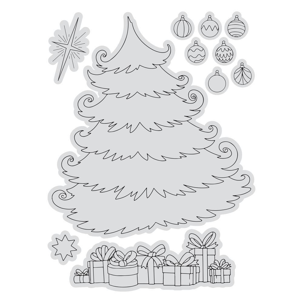 Couture Creations CHRISTMAS TREE SCENE Stamp And Color Outline Set co728508 zoom image
