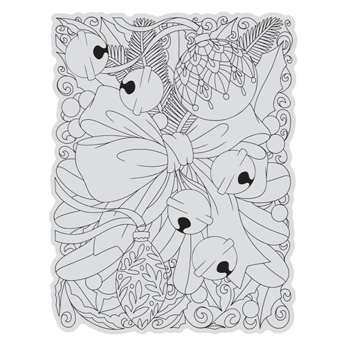 Couture Creations RIBBON AND BELLS BACKGROUND Stamp And Color Outline Set co728510 Preview Image