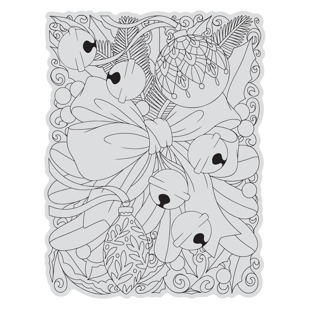 Couture Creations RIBBON AND BELLS BACKGROUND Stamp And Color Outline Set co728510 zoom image