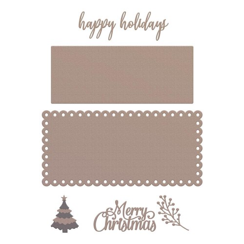 Couture Creations HAPPY HOLIDAYS Slimline Die Set co728532 Preview Image