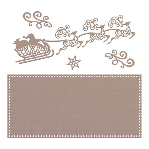 Couture Creations SANTA'S SLEIGH Slimline Die Set co728537 Preview Image