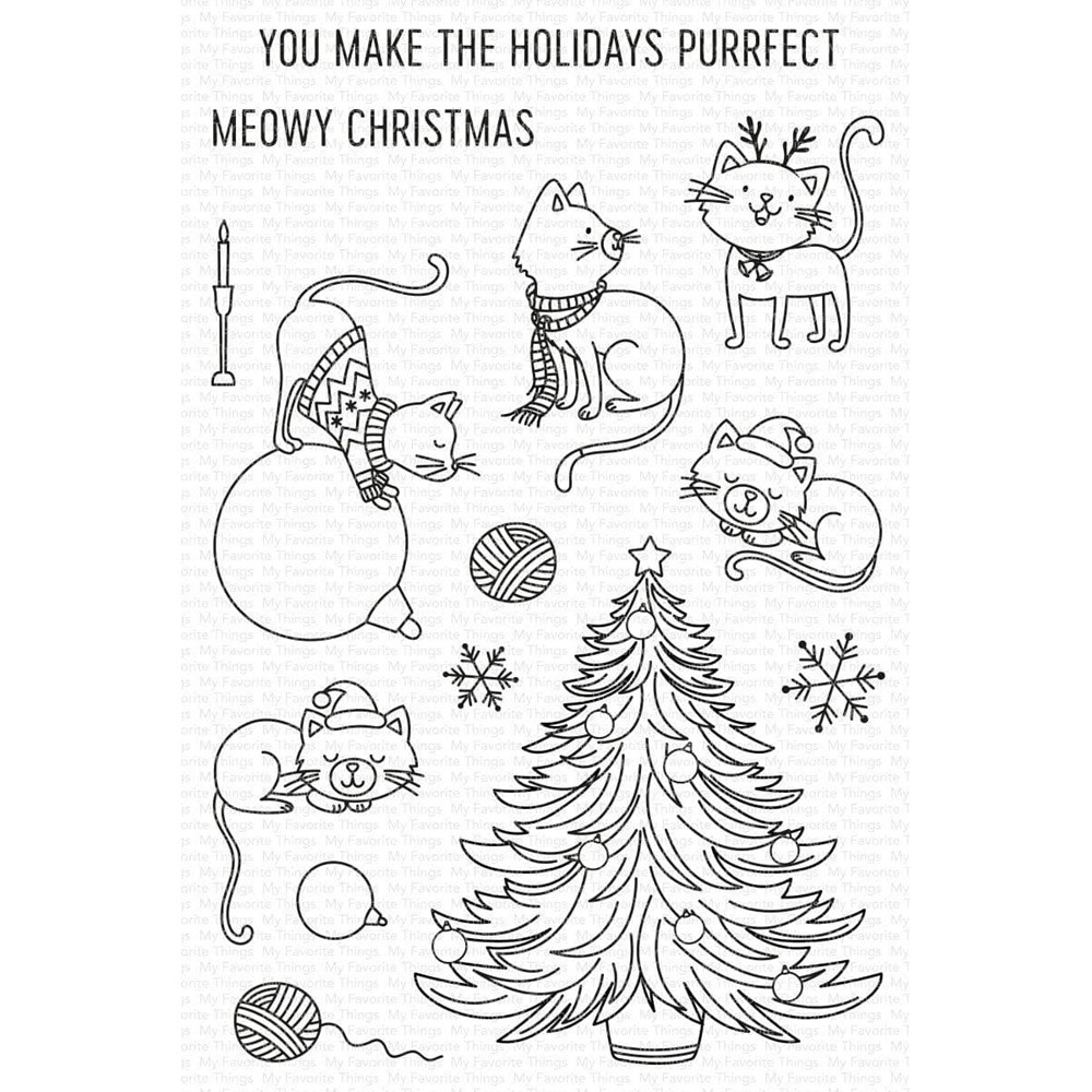 My Favorite Things MEOWY CHRISTMAS Clear Stamps cs593 zoom image